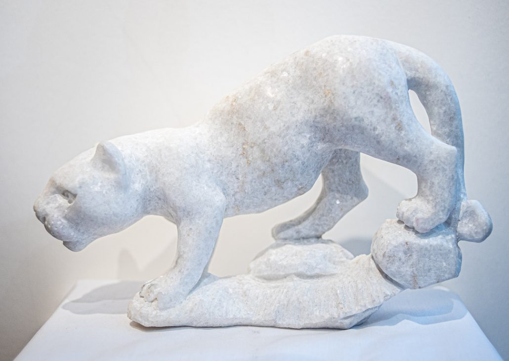 dolomite jaguar hand sculpted - The Gallery Upstairs