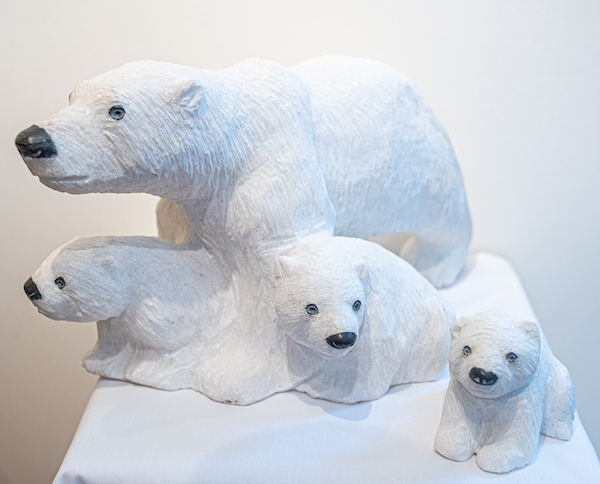 Dolomite stone carved polar bears - The Gallery Upstairs