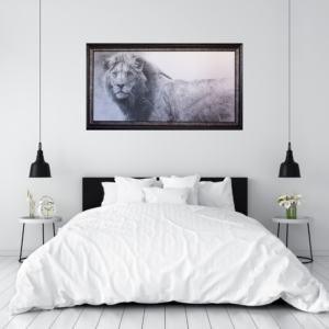 The Warrior Lion by Robert Bateman staged for bedroom