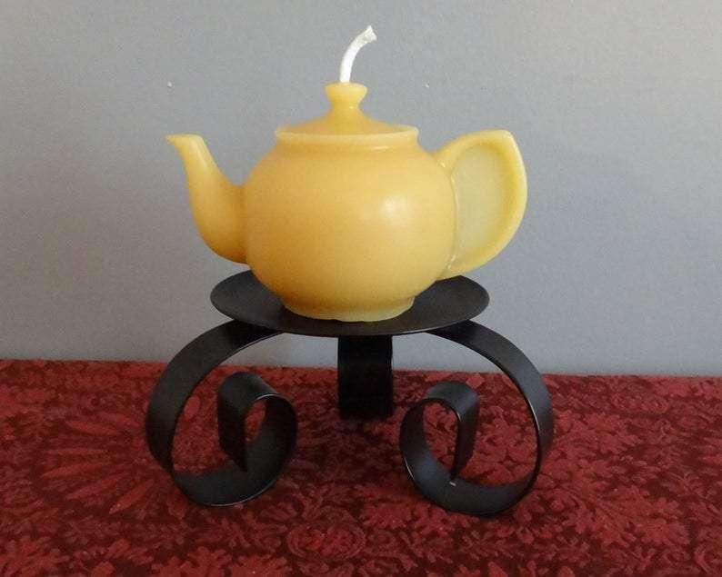 Tea Pot natural beeswax candle