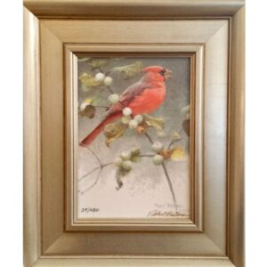 Cardinal and Snowberries signed print by artist Robert Bateman