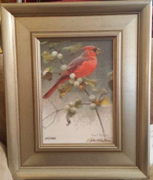 cardinal & snowberries - $350.00