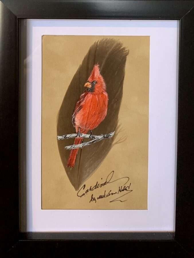 Cardinal Feather Art_01 by artist Betty Hebert