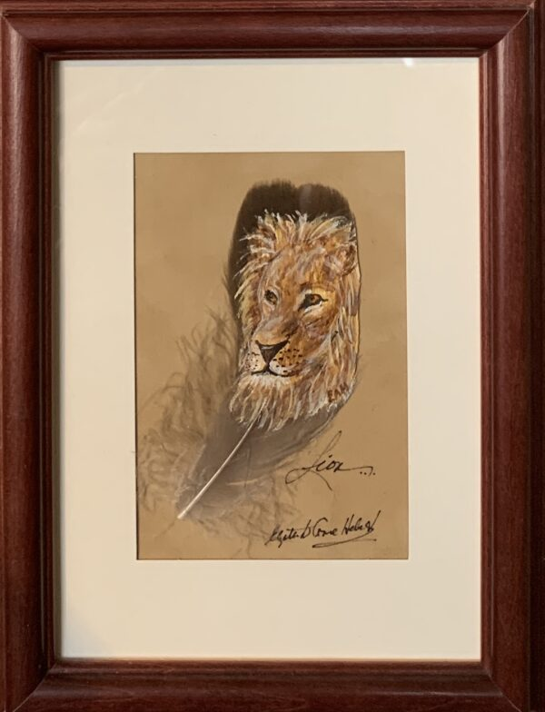 Lion art on a feather by Betty Hebert