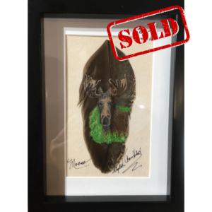 Moose feather art by Betty Hebert