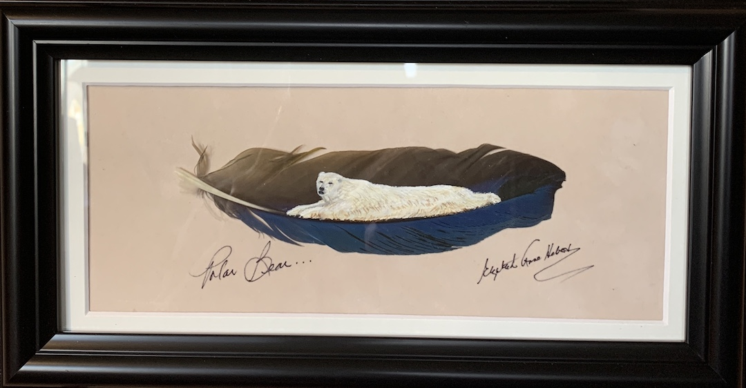 Polar Bear feather art by Betty Hebert
