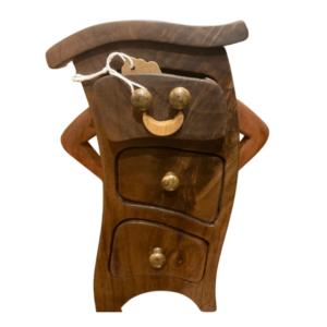 Sassy hand carved wood jewellery keepsake box