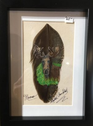 Moose feather art from Betty Hebert