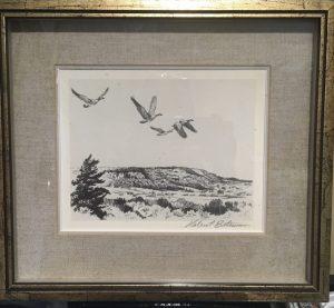 Geese flying over escarpment by Robert Bateman