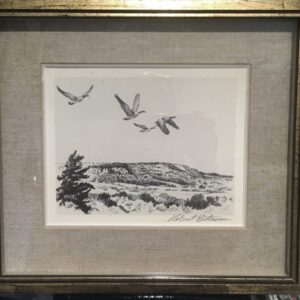 Geese flying over escarpment by Robert Bateman