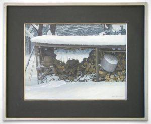 Robert Bateman Original Art - Woodshed in winter_SOLD