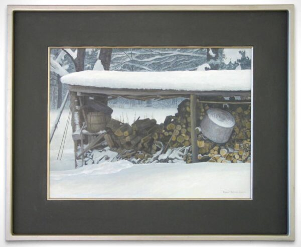 Robert Bateman Original Art - Woodshed in winter_SOLD