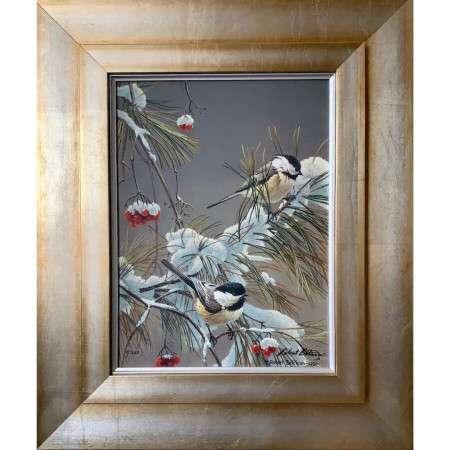 Winter Song Chickadees framed print signed by artist Robert Bateman
