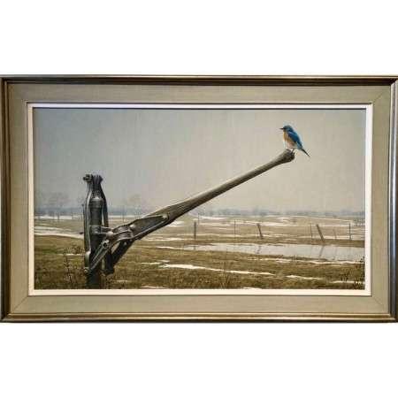 Early Arrival Spring Bluebird original art from artist Robert Bateman