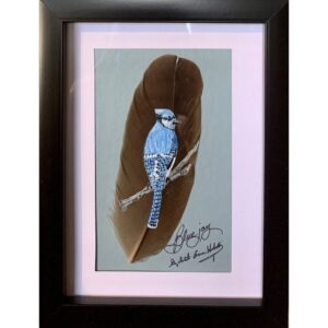 Bluebird on a feather by artist Betty Hebert