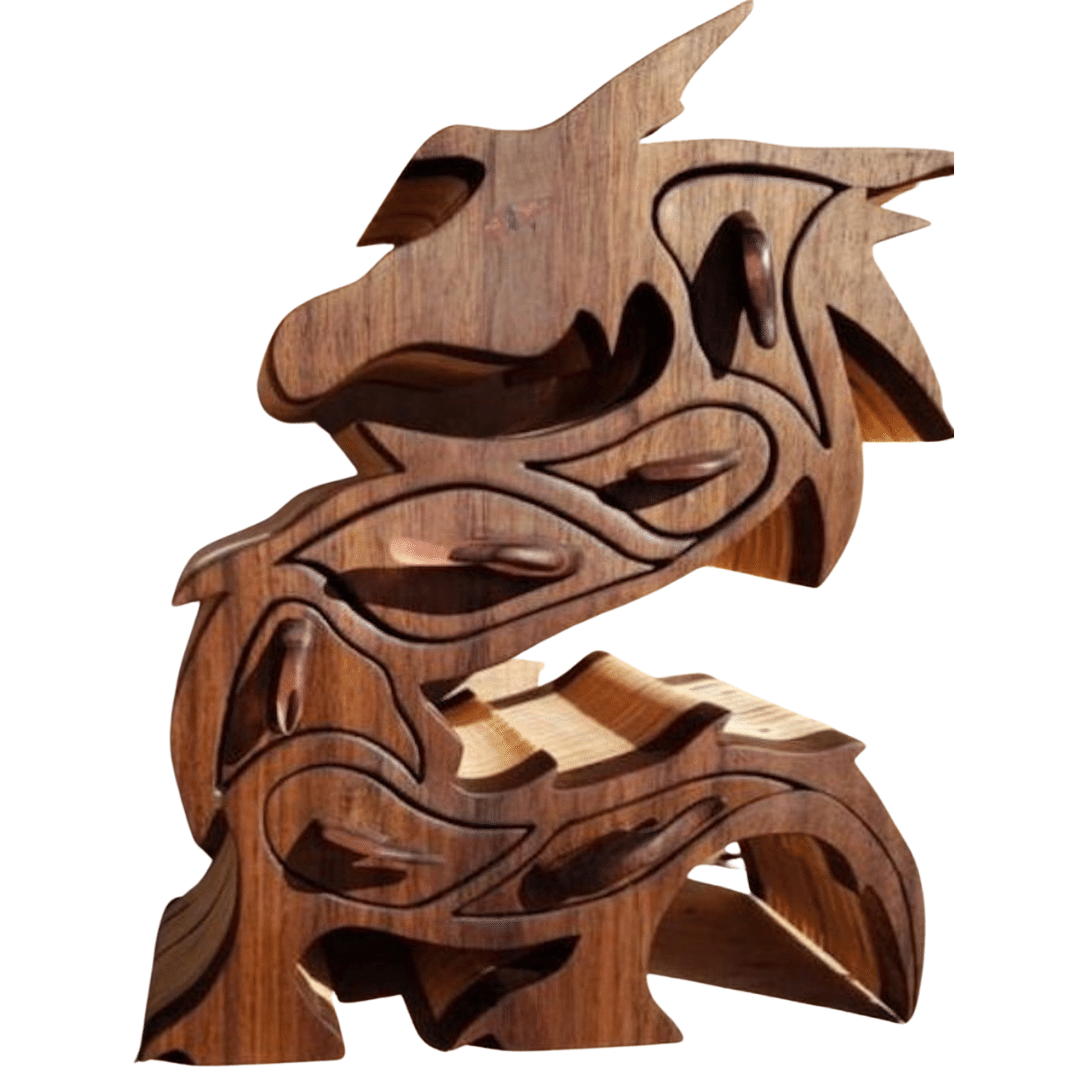 Dragon hand carved wooden jewellery box