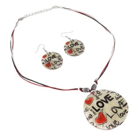 Love necklace and earrings