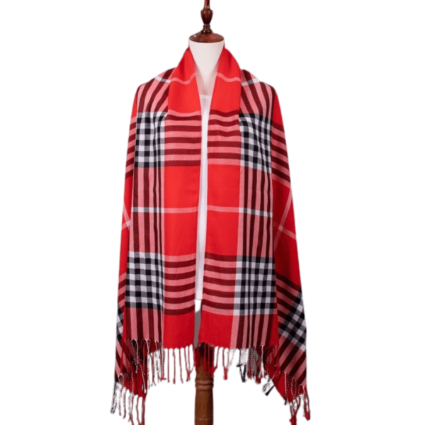 Red plaid scarf available at The Gallery Upstairs