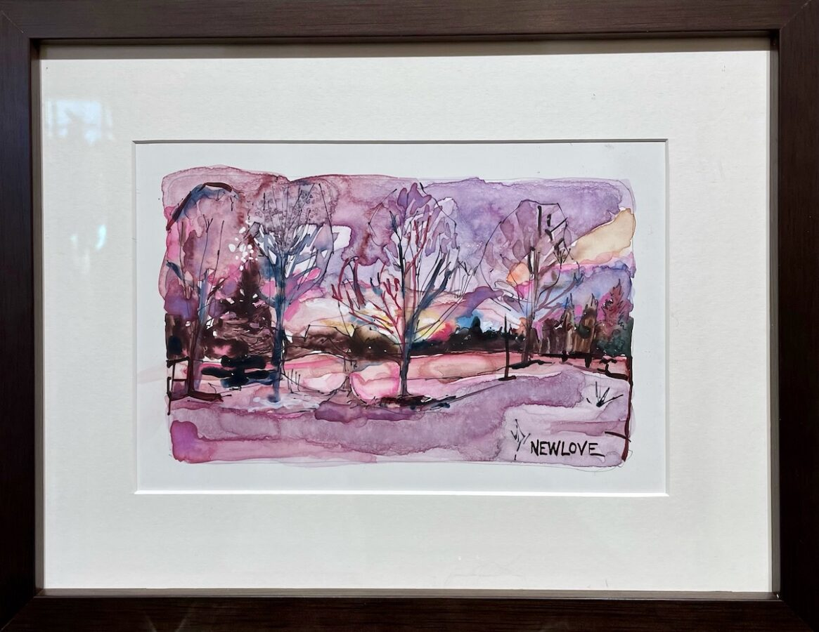 Snowy Sunset by artist Tina Newlove