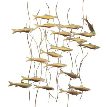 Fish in Reeds metal art from the Gallery Upstairs