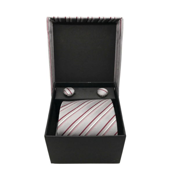 Burgundy and Grey pinstripe tie and cuff links