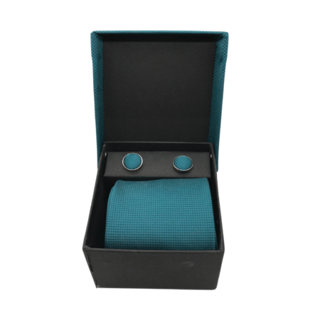 blue tie and cuff links