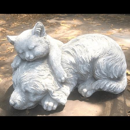 Cement cat and dog friends cement garden statue art