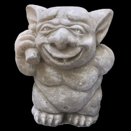 Happy garden gnome cement sculpture